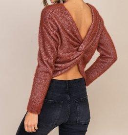 Lush Sparkle Twist Back Sweater