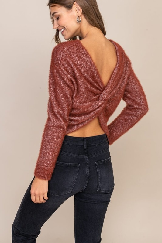 Lush Sparkle Twist Back Sweater