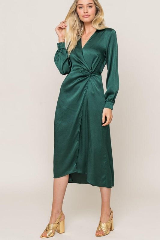 Lush Satin Wrap Dress