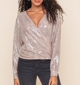 All In Favor Sequin Surplice Blouse