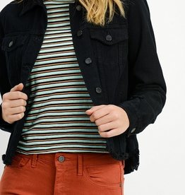 Just Black Denim Fray Hem Jean Jacket