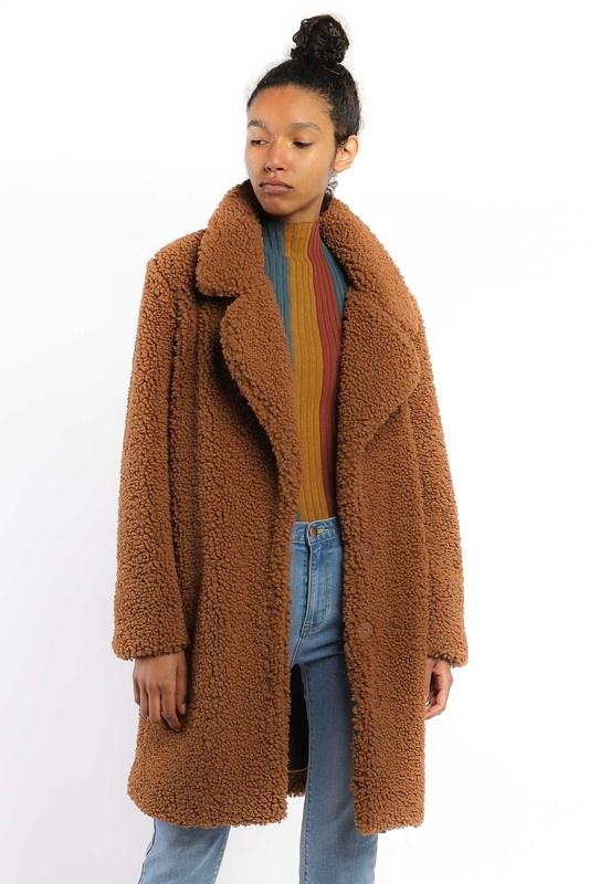 Current Air Faux Fur Longline Coat
