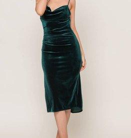 Lush Cowl Velvet Midi Dress