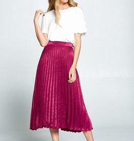 Ellison Satin Pleated Skirt