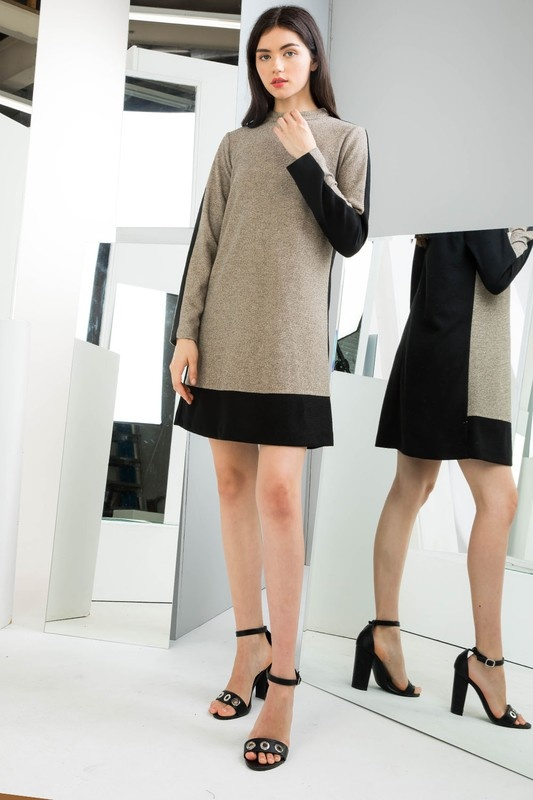 THML Two Tone Mock Neck Dress