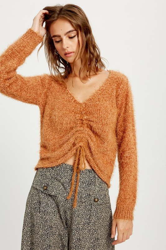 Wishlist Ruched Chenille Sweater