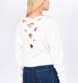 Dreamers Fuzzy Crisscross Sweater