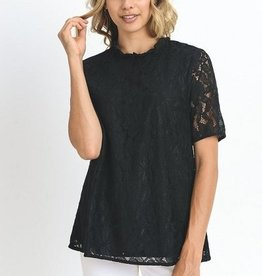 S/S Lace Mock Neck