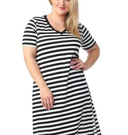 Stripe V-Neck Maxi