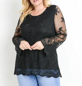 Lace Scallop Hem Blouse