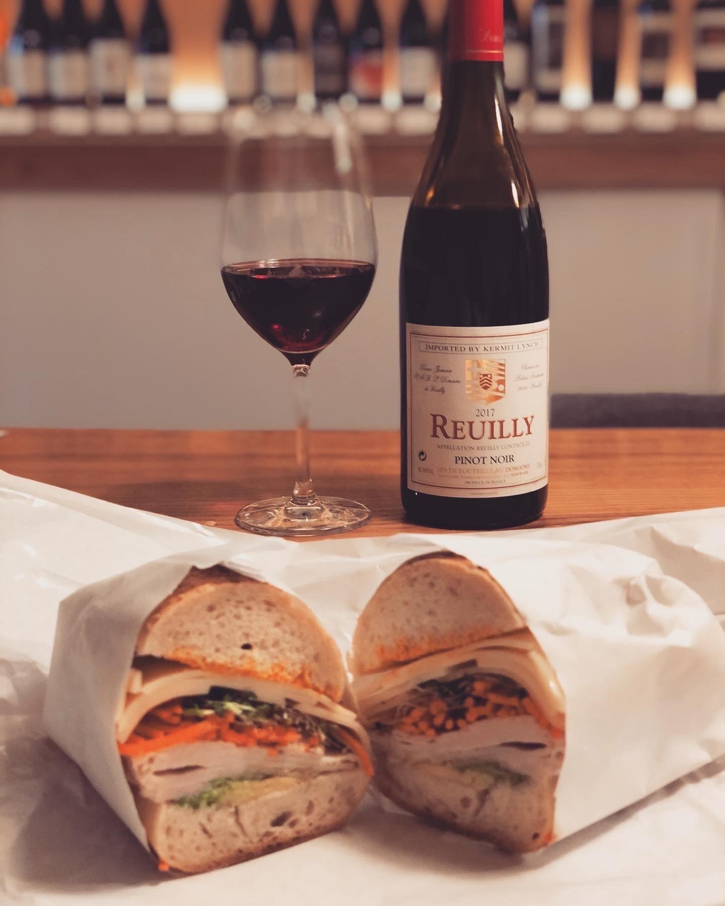 Tiny's Giant Sandwich + Reuilly Pinot Noir