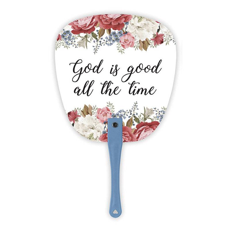 God is Good Floral Hand Fan