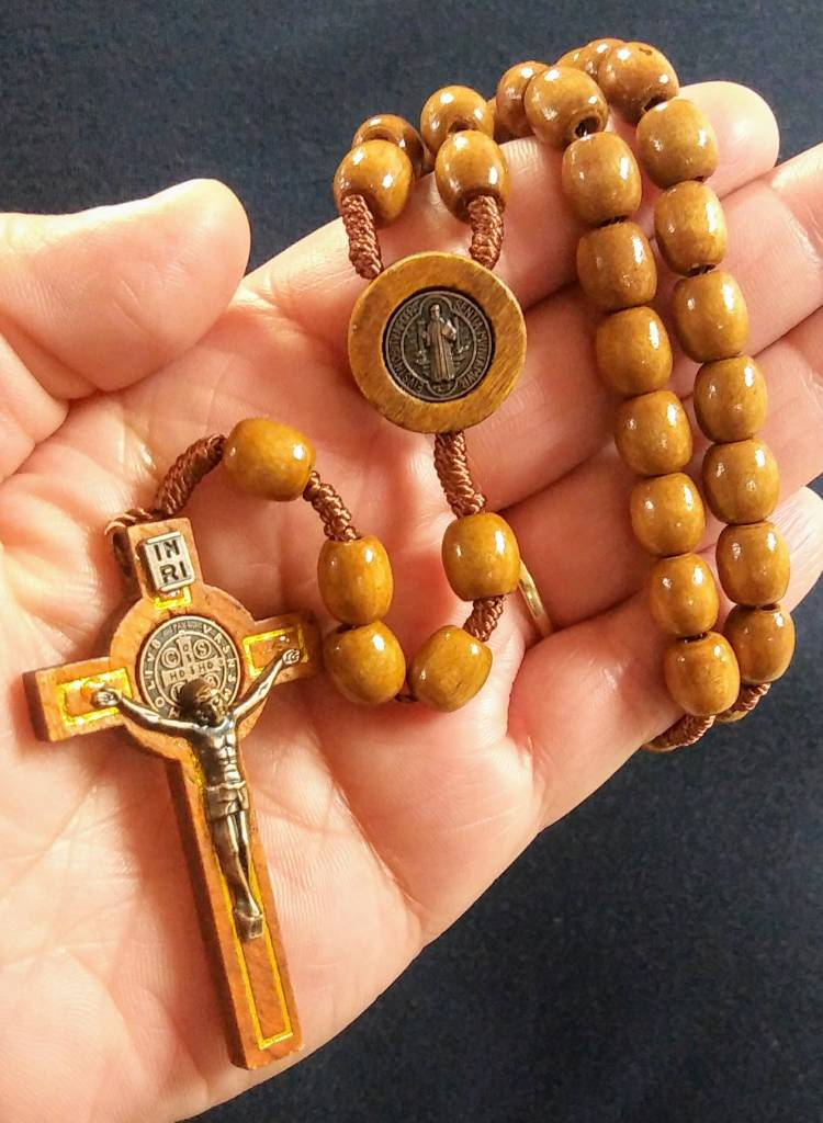 St Benedict Brown Cord Wooden Rosary