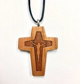 Carved Corpus Wood Cross w/Cord