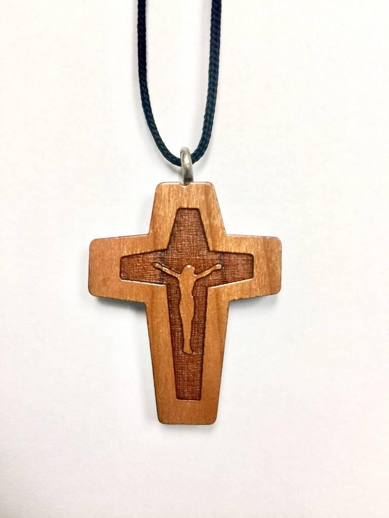 Carved Corpus Wood Cross w/Cord