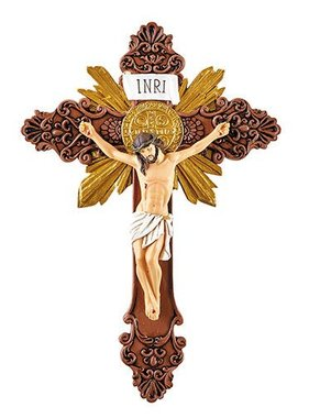 St Benedict Brown/Gold Ornate Wall Crucifix