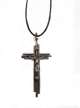 "2"" Layered Crucifix Pendant w/Cord"
