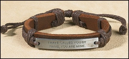 I Have Called You by Name Brown Leather Bracelet