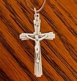 Matte Silver Crucifix w/cord