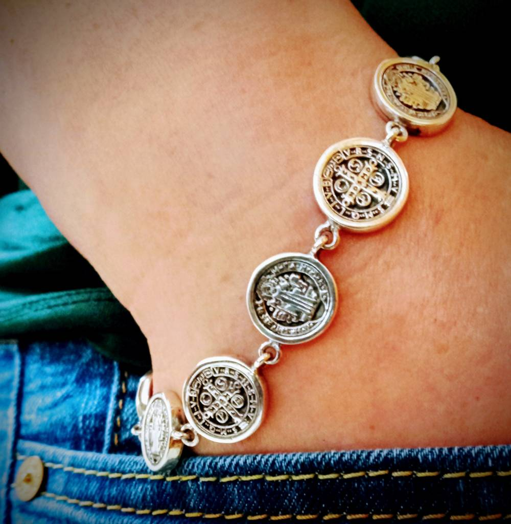St. Benedict Small Medals Sterling Silver Bracelet