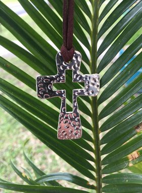 Hammered Cross Pendant w/Cord