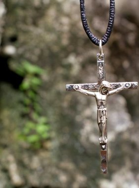 "2"" Metal Crucifix w/ Black Cord"