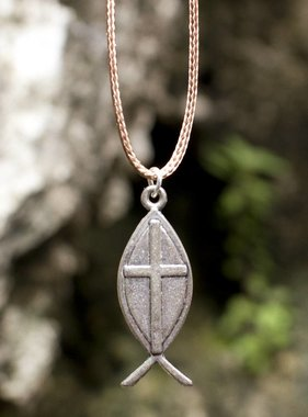Cross Ichthus Pendant w/ Cord