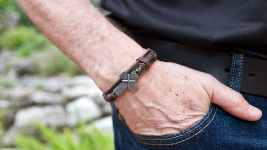 Brown Leather Cross Bracelet