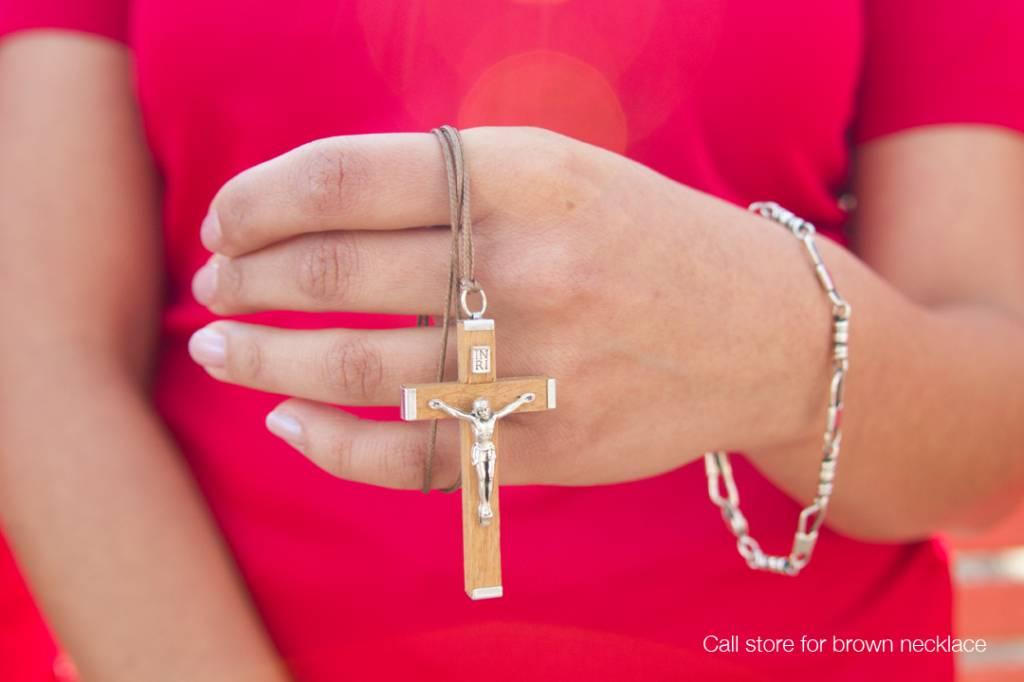 "Natural Wood Crucifix w/cord 2.25"""