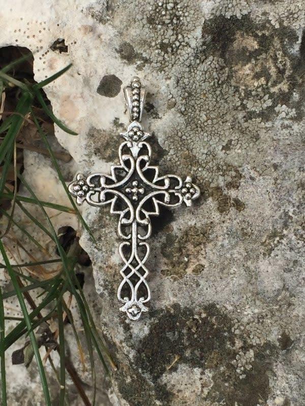 Fleur De Lis Metal Cross Pendant