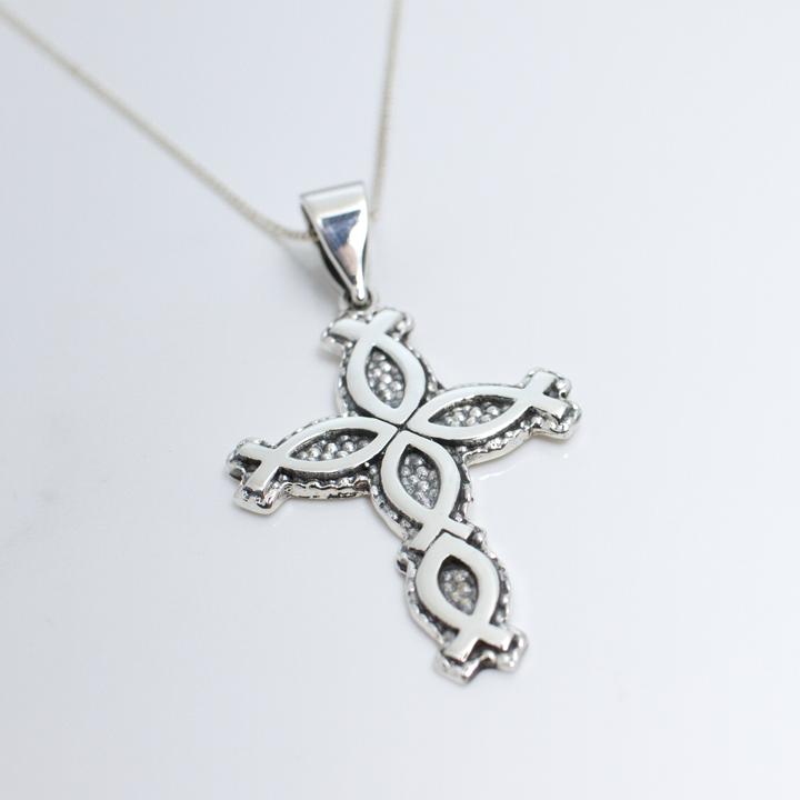 Sterling Silver Ichthus Cross Pendant