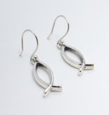 Open Ichthus SS Earrings
