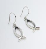 Open Ichthus SS Earrings