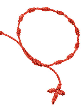 Knotted Cord Rosary Bracelet-Red