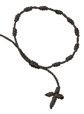 Knotted Cord Rosary Bracelet-Black