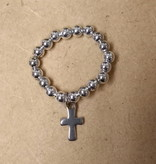 Silver Beaded Ring w/Cross Charm