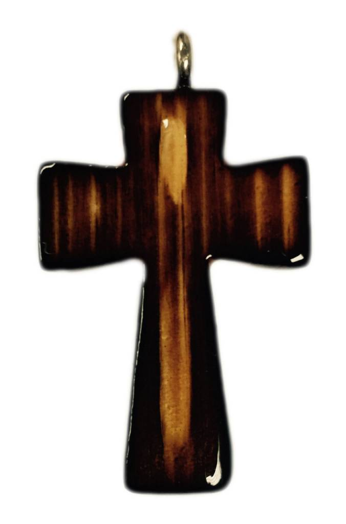 Abstract Wood Cross w/Cord