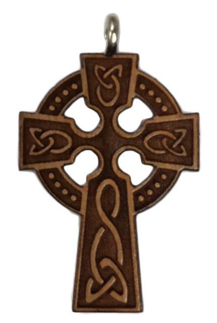 Celtic Wood Cross w/Cord