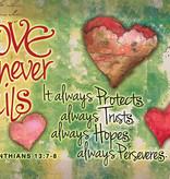 Love Never Fails Prayer Card