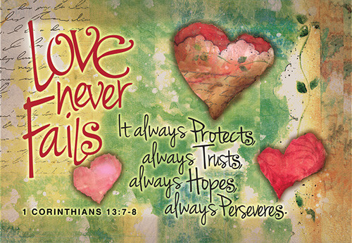 Love Never Fails Prayer Card