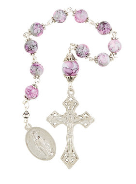 Pink Marble Pocket Rosary w/pouch