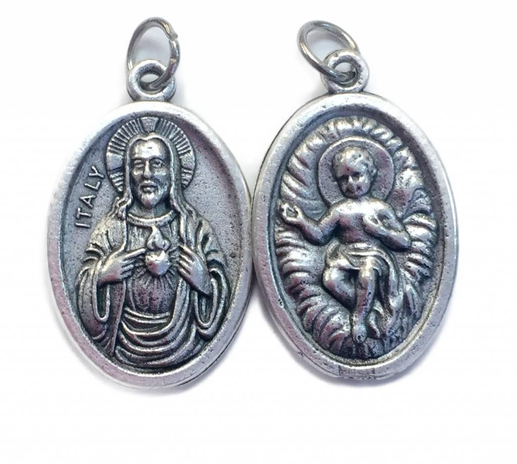 Infant Jesus/ Sacred Heart Oxidized Medal