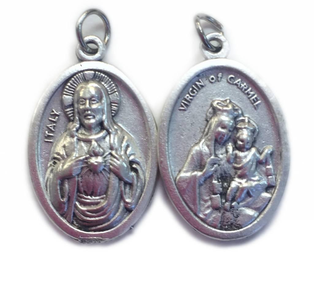 Virgen of Mt. Carmel/Sacred Heart Oxidized Medal