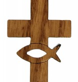 Wood Cut-Out Ichthus in Cross w/Cord