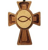 Ichthus in Circle Inlay Wood Cross w/Cord