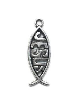 Vertical Jesus Fish Metal Charm