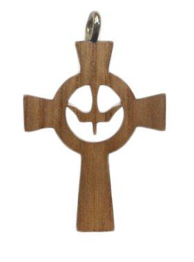 Holy Spirit Celtic Wood Cross w/Cord