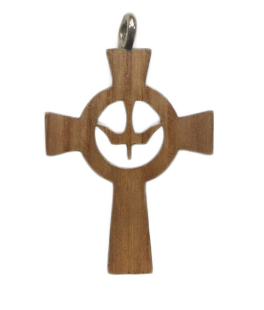 Holy Spirit Celtic Wood Cross w/Cord