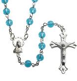 Aqua Round Glass Rosary