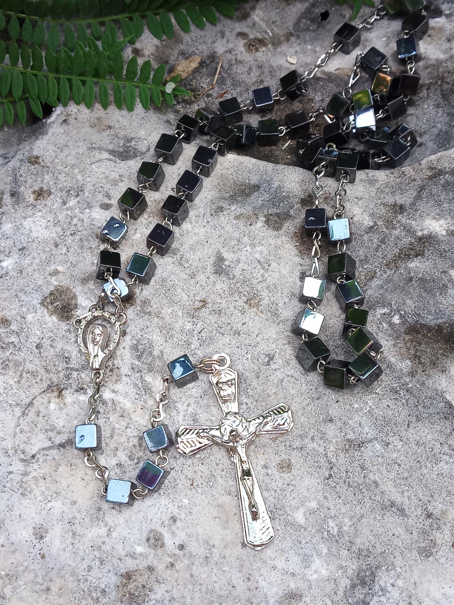 Cubed Bead Hematite Rosary
